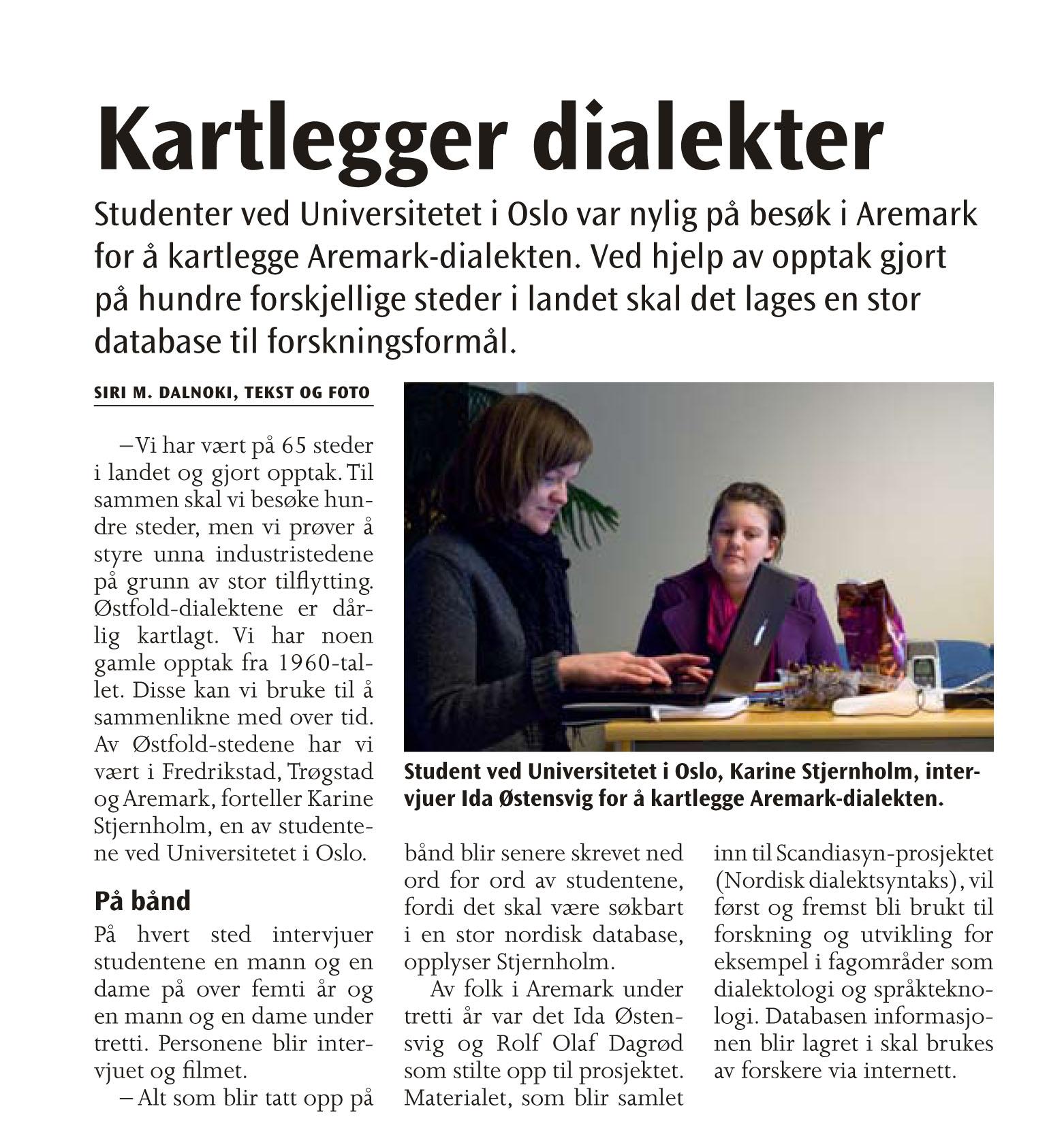94a327ce Kartlegger dialekter (Avisa Grenseland nummer 4, mai 2009)